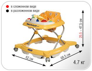 Размер детских ходунков Peg-Perego Walk`n play Jumper Orsi Verde