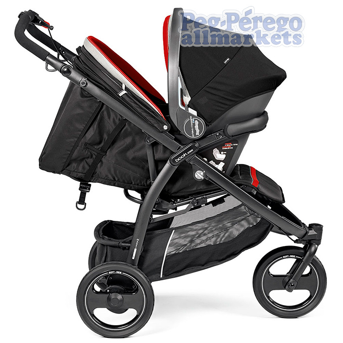 коляска 2 в 1 peg perego book cross modular system с автокреслом primo viaggio sl на блоке, вид сбоку