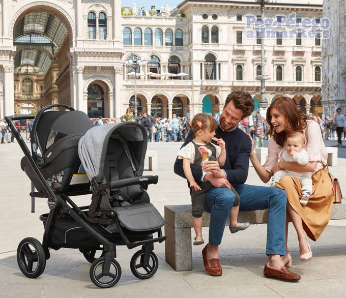 коляска peg perego team pop up modular 3 в 1 установка блока и автолюльки, на прогулке всей семьей
